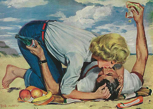 woman-kissing-man-on-picnic-blanket-illustration